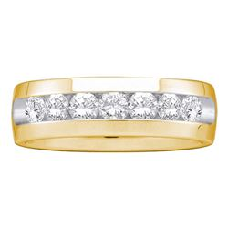1 CTW Mens Diamond Channel-set Anniversary Ring 14k Yellow Gold - REF-179N9F