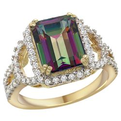 Natural 3.08 ctw mystic-topaz & Diamond Engagement Ring 14K Yellow Gold - REF-106N3G