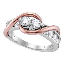 0.76 CTW Diamond 2-stone Hearts Together Bridal Ring 14KT Two-tone Gold - REF-89X9Y