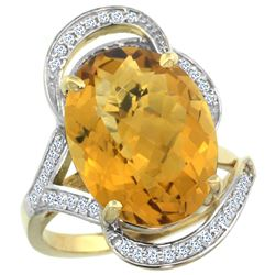 Natural 11.23 ctw quartz & Diamond Engagement Ring 14K Yellow Gold - REF-98R7Z