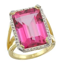 Natural 13.72 ctw Pink-topaz & Diamond Engagement Ring 14K Yellow Gold - REF-81R3Z