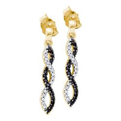 0.15 CTW Black Color Diamond Infinity Dangle Screwback Earrings 10KT Yellow Gold - REF-18X2Y