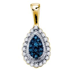 0.15 CTW Blue Color Diamond Teardrop Cluster Pendant 10KT Yellow Gold - REF-14F9N