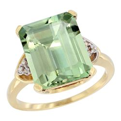 Natural 5.44 ctw green-amethyst & Diamond Engagement Ring 10K Yellow Gold - REF-32F2N