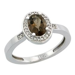 Natural 1.08 ctw Smoky-topaz & Diamond Engagement Ring 10K White Gold - REF-25Z5Y
