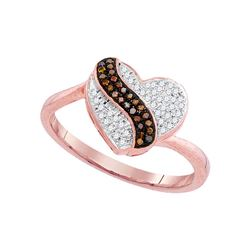 0.15 CTW Red Color Diamond Heart Cluster Ring 10KT Rose Gold - REF-25X4Y