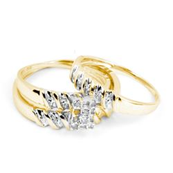 0.10 CTW His & Hers Diamond Cluster Matching Bridal Ring 14KT Yellow Gold - REF-34K4W
