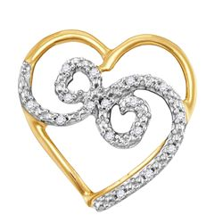 0.05 CTW Diamond Curled Heart Pendant 10KT Yellow Gold - REF-8H9M