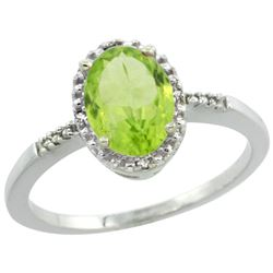 Natural 1.39 ctw Peridot & Diamond Engagement Ring 10K White Gold - REF-17Y5X