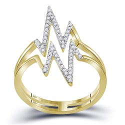 0.20 CTW Diamond Double Heartbeat Ring 10KT Yellow Gold - REF-19N4F