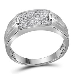 0.35 CTW Mens Pave-set Diamond Rectangle Cluster Ring 10KT White Gold - REF-37M5H