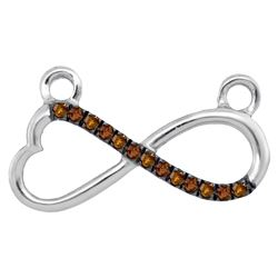 0.08 CTW Cognac-brown Color Diamond Heart Infinity Pendant 10KT White Gold - REF-14N9F