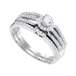 0.50 CTW Diamond Halo Bridal Engagement Ring 10KT White Gold - REF-46H4M