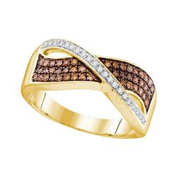 0.33 CTW Cognac-brown Color Diamond Crossover Ring 10KT Yellow Gold - REF-26F9N