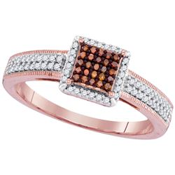 0.26 CTW Red Color Diamond Square Cluster Ring 10KT Rose Gold - REF-30W2K