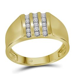 0.25 CTW Mens Channel-set Diamond Triple Row Wedding Ring 10KT Yellow Gold - REF-30X2Y