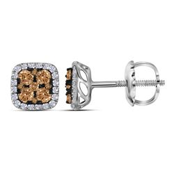 0.54 CTW Cognac-brown Color Diamond Square Cluster Earrings 14KT White Gold - REF-33F7N