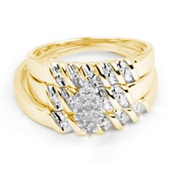 0.11 CTW His & Hers Diamond Cluster Matching Bridal Ring 14KT Yellow Gold - REF-41M3H