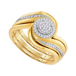 0.15 CTW Diamond Cluster Bridal Engagement Ring 10KT Yellow Gold - REF-31K4W