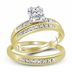 0.10 CTW His & Hers Diamond Cluster Matching Bridal Ring 10KT Yellow Gold - REF-26X9Y
