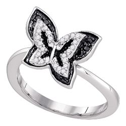 0.35 CTW Black Color Pave-set Diamond Butterfly Bug Ring 10KT White Gold - REF-32H9M