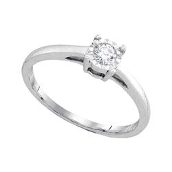 0.15 CTW Diamond Solitaire Bridal Engagement Ring 10KT White Gold - REF-24N2F