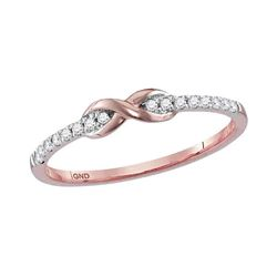 0.11 CTW Diamond Infinity Knot Stackable Ring 10KT Rose Gold - REF-13Y4X