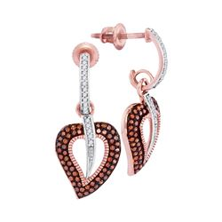 0.40 CTW Red Color Diamond Heart Dangle Screwback Earrings 10KT Rose Gold - REF-44Y9X