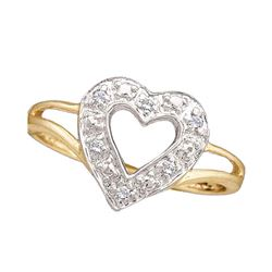 0.05 CTW Diamond Split-shank Heart Ring 10KT Yellow Gold - REF-10K5W