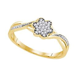0.10 CTW Diamond Flower Cluster Ring 10KT Yellow Gold - REF-14N9F