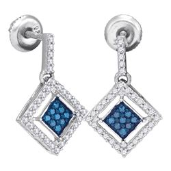 0.50 CTW Blue Color Diamond Diagonal Square Dangle Earrings 10KT White Gold - REF-30W2K