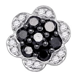 0.50 CTW Black Color Diamond Flower Cluster Earrings 10KT White Gold - REF-19K4W