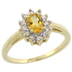 Natural 0.67 ctw Citrine & Diamond Engagement Ring 10K Yellow Gold - REF-38N8G