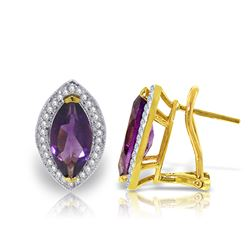 Genuine 3.6 ctw Amethyst & Diamond Earrings Jewelry 14KT Yellow Gold - REF-102X2M