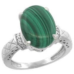 Natural 5.53 ctw Malachite & Diamond Engagement Ring 10K White Gold - REF-38Z8Y