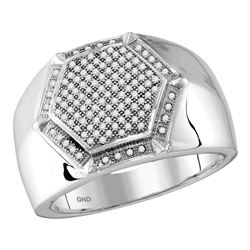0.40 CTW Mens Diamond Hexagon Cluster Ring 10KT White Gold - REF-44K9W