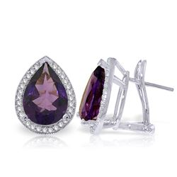 Genuine 6.82 ctw Amethyst & Diamond Earrings Jewelry 14KT White Gold - REF-119F7Z