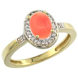 Natural 0.83 ctw Coral & Diamond Engagement Ring 10K Yellow Gold - REF-24Y8X