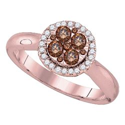 0.46 CTW Brown Diamond Cluster Halo Bridal Engagement Ring 14KT Rose Gold - REF-59K9W
