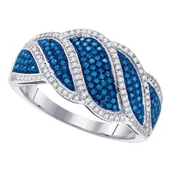 0.50 CTW Blue Color Diamond Ring 10KT White Gold - REF-57H2M