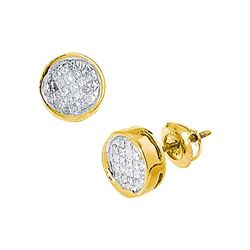 0.50 CTW Princess Diamond Invisible-set Circle Stud Earrings 14k Yellow Gold - REF-41N9F