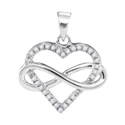0.15 CTW Diamond Heart Love Infinity Pendant 10KT White Gold - REF-14F9N