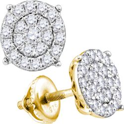 0.96 CTW Diamond Cluster Earrings 10KT Yellow Gold - REF-59W9K