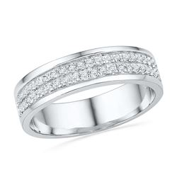0.20 CTW Diamond 2-row Ring 10KT White Gold - REF-30W2K