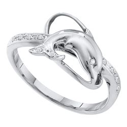 0.05 CTW Diamond Dolphin Fish Animal Ring 10KT White Gold - REF-18K2W