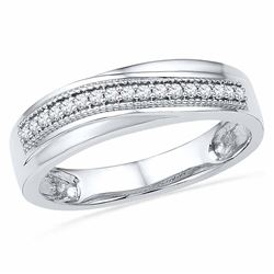 0.16 CTW Diamond Wedding Anniversary Ring 10KT White Gold - REF-30M2H