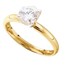0.29 CTW Diamond Solitaire Bridal Engagement Ring 14KT Yellow Gold - REF-41K2W