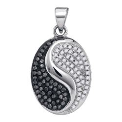 0.33 CTW Black Color Diamond Oval Ying Yang Pendant 10KT White Gold - REF-22K4W