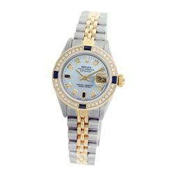 Rolex Pre-owned 26mm Womens Custom Light Blue Two Tone - REF-530W2Y