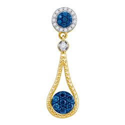 0.37 CTW Blue Color Diamond Cradled Cluster Pendant 10KT Yellow Gold - REF-22H4M
